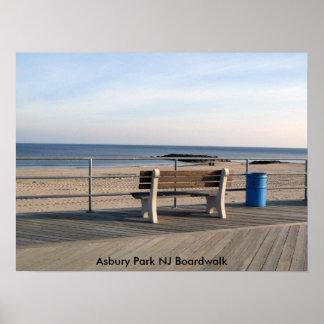 Paseo marítimo del parque NJ de Asbury - banco Posters