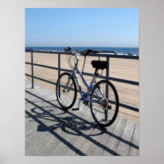 Paseo marítimo del parque NJ de Asbury - bicicleta Posters