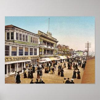 Paseo marítimo en Atlantic City, 1900 Posters