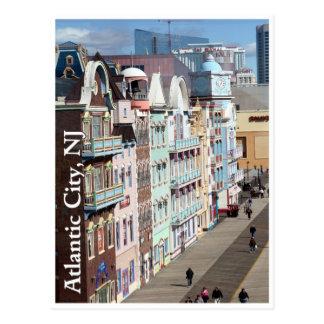 Paseo marítimo en postal de Atlantic City, New Jer