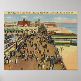 Paseo marítimo, parque de Asbury, vintage de New J Poster