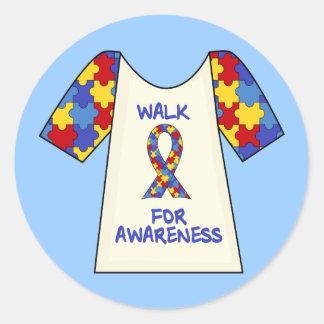 Paseo para la conciencia del autismo pegatinas redondas
