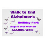 Paseo para terminar la bandera de Alzheimer Posters