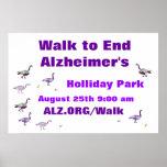 Paseo para terminar la bandera de Alzheimer Póster
