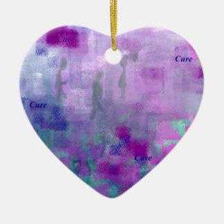 Paseo para una curación adorno navideño de cerámica en forma de corazón