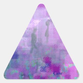 Paseo para una curación pegatina triangular