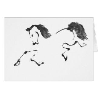 Paseo - pintura de Sumi-e del caballo Tarjetón