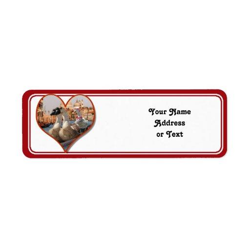 Paseo romántico de la góndola (añada su texto) etiquetas de remite