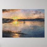 Paseo romántico de la puesta del sol poster