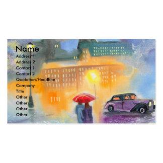 Paseo romántico de los pares del paraguas rojo del tarjetas de visita