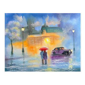 Paseo romántico de los pares del paraguas rojo del tarjetas postales