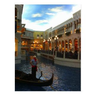 Paseo veneciano de la góndola del canal Las Vegas Tarjetas Postales
