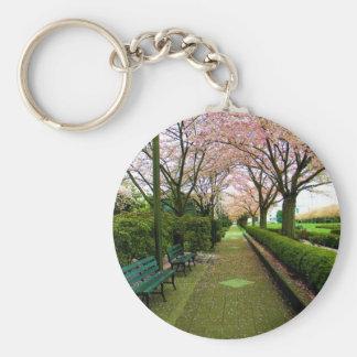Paseo verde llavero redondo tipo pin