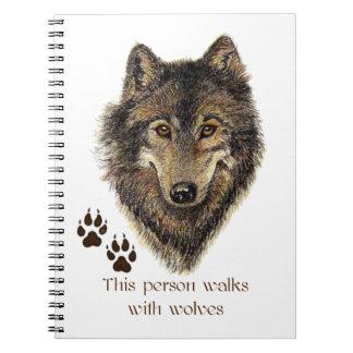 Paseos con cita del lobo de los lobos libro de apuntes con espiral