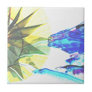 Paseos enfocados amarillos y azules en el extracto azulejo cuadrado pequeño