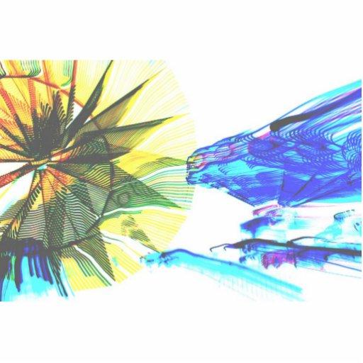 Paseos enfocados amarillos y azules en el extracto esculturas fotográficas