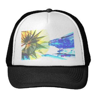 Paseos enfocados amarillos y azules en el extracto gorras
