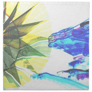 Paseos enfocados amarillos y azules en el extracto servilletas imprimidas