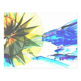 Paseos enfocados amarillos y azules en el extracto postales