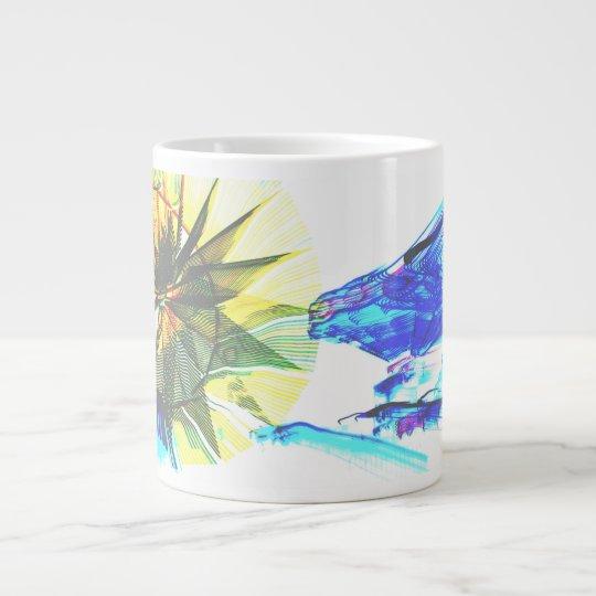Paseos enfocados amarillos y azules en el extracto taza de café grande