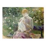 Pasie que cose en el jardín de Bougival, 1881 Tarjeta Postal