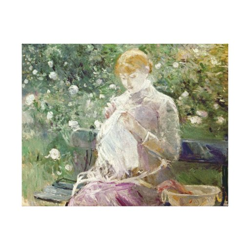Pasie sewing in Bougival's Garden, 1881 Canvas Print