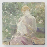 Pasie sewing in Bougival's Garden, 1881 Stone Coaster