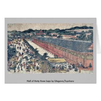 Pasillo de treinta y tres bahías por Utagawa, Toyo Tarjetas