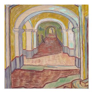 """Pasillo de Van Gogh en el asilo Invitación 5.25"""" X 5.25"""""""