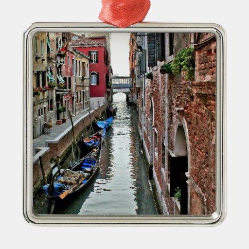 Pasillo de Venecia Adorno Navideño Cuadrado De Metal