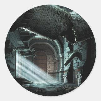 Pasillo del castillo pegatinas redondas