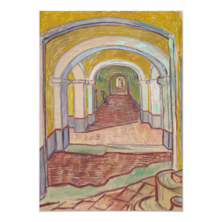 """Pasillo en el asilo de Vincent van Gogh Invitación 5"""" X 7"""""""