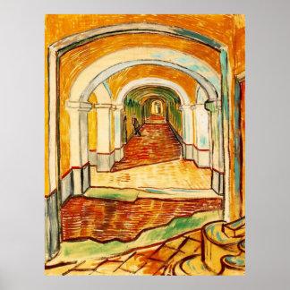 Pasillo en el asilo de Vincent van Gogh Póster