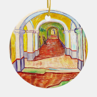 Pasillo en el hospital Vincent van Gogh de San Adorno Navideño Redondo De Cerámica
