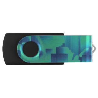 Pasillos del azul de la aguamarina pen drive giratorio USB 2.0