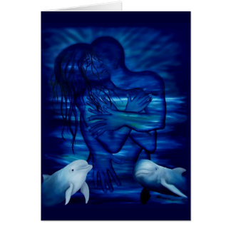 Pasión acto - pareja pareja con delfín tarjeton