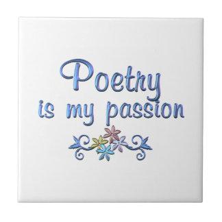 Pasión de la poesía azulejo cuadrado pequeño