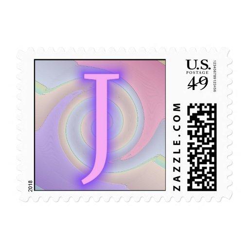 Pasión de la púrpura del monograma de J Estampillas