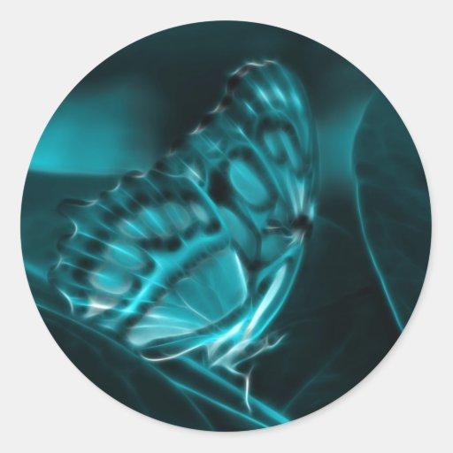 Pasión de medianoche, besos azules de la mariposa pegatinas redondas