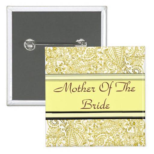 Pasión de Paisley - amarillo (alheña) (boda) Pin Cuadrado