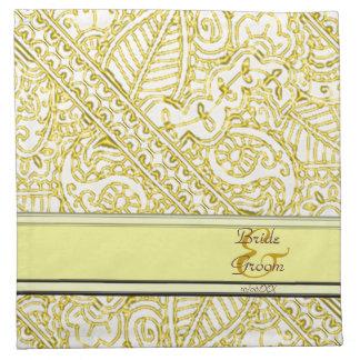 Pasión de Paisley - amarillo (alheña) (boda) Servilleta Imprimida