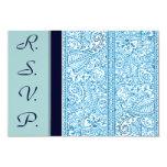 Pasión de Paisley - azul (alheña) (boda) Invitación 8,9 X 12,7 Cm