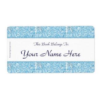 Pasión de Paisley - azul (alheña) Etiquetas De Envío