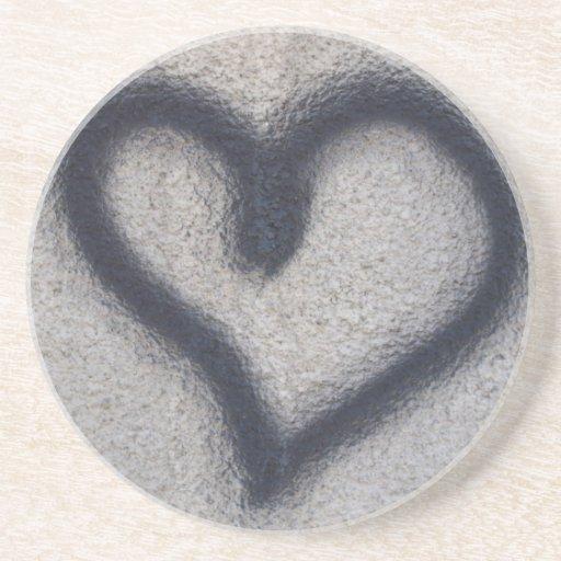 Pasión del amor de la muestra del corazón posavasos personalizados