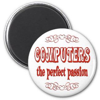 Pasión del ordenador imán redondo 5 cm