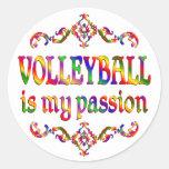 Pasión del voleibol pegatina redonda