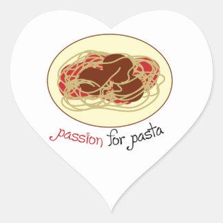 Pasión para las pastas pegatina en forma de corazón