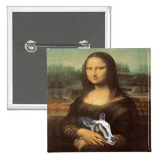 Pasión secreta de la cabra de Mona Lisa Pin Cuadrado