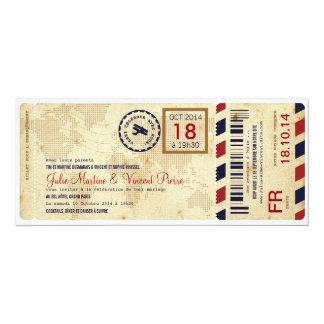 """Paso de Embarquement avion invitation de billet de Invitación 4"""" X 9.25"""""""