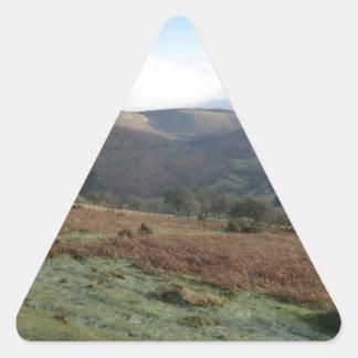 Paso de herradura, Denbighshire, País de Gales Pegatina Triangular